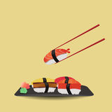 Six piece of sushi the Japanese food. Six piece of sushi with chopsticks Stock Photo