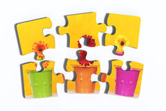 Six pieces of puzzle with potted flowers Royalty Free Stock Photos