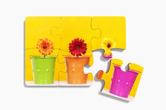 Six pieces of puzzle with potted flowers Royalty Free Stock Photo