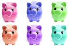 Six pigs piggy bank Stock Image