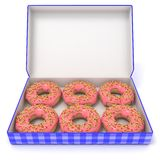 Six pink donuts in blue box. Side view. 3D render Royalty Free Stock Photo