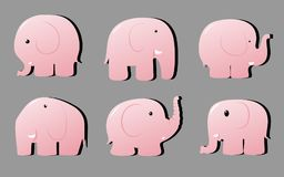 Six pink shiny cartoon elephants isolate on a gray background. Different elephants characters with black shadow Royalty Free Stock Photos