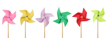 Six pinwheels Royalty Free Stock Images