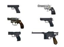 Six pistols set Royalty Free Stock Images