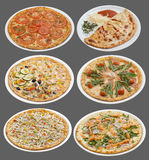 Six pizzas Photos libres de droits