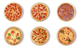 Six pizzas différentes réglées pour le menu Photographie stock libre de droits
