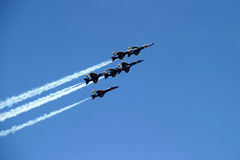 Six-Plane Formation. Blue Angels stunt, Chicago Airshow 2006 stock images