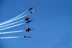 Six-Plane Formation Spreading. Blue Angels stunt, Chicago Airshow 2006 royalty free stock photo