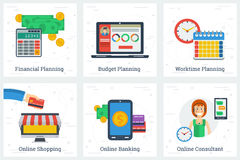 Six planning and online services concepts Royalty Free Stock Photos