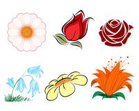 Six plowers set Royalty Free Stock Images