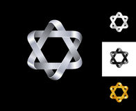 Six-point star logo design template black white gold silver. Set of corporate icon such as logotype. Infinite loop quadrangles forming hexagram. Vector and Stock Photo