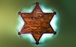Six point wooden sheriff star Royalty Free Stock Photography