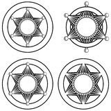 Six pointed sheriffs star in circle set Stock Image