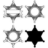 Six pointed sheriffs star set Royalty Free Stock Images