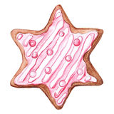 Six-pointed star ginger biscuit Royalty Free Stock Images