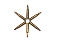 Six-pointed star of M16 cartridges isolated Royalty Free Stock Photo
