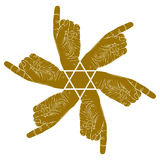 Six pointing hands abstract symbol with hexagonal star, single c Stock Photo
