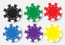 Six poker chips isolated on white background Royalty Free Stock Images