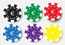 Six poker chips isolated on white background Royalty Free Stock Image