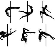 Six pole dancers. Vector illustration of pole dancers silhouettes in different poses Royalty Free Stock Images
