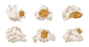 Six popcorn  and icon Royalty Free Stock Image