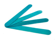 Six popsicle bluish sticks for arts and crafts on. White background royalty free stock image