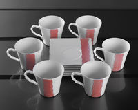 Six porcelain cups of coffee Stock Photos