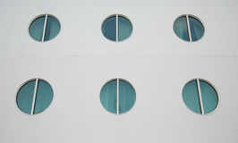 Six Portholes on White Hull Stock Photos