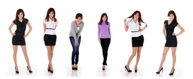 Six poses of teenager girl Stock Photos