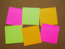 Six post note. Attach on wooden board stock photography