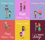 Six Posters on Womens Day with Gifts and Flowers. Six color posters on womens day vector illustration. Men, boy and grandfather with bouquets of flowers and Stock Illustration