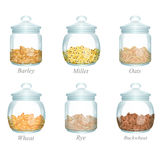 Six pots en verre avec des céréales dans elles Photos libres de droits