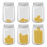 Six pots en verre avec différent nombre des pièces de monnaie à l'intérieur sur un blanc Illustration de Vecteur