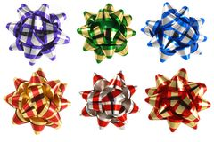 Six present bows. Isolated six colorful ribbon bows for presents in high resolution Stock Image