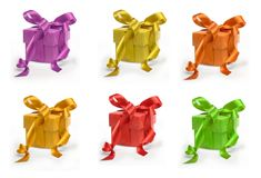 Six present boxes Royalty Free Stock Photography