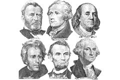Six presidents with dollar bills. Engravings of portraits of six presidents with U.S. dollar bills Stock Photo