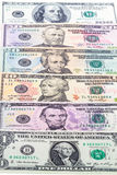 Six presidents in U.S. dollar Stock Images
