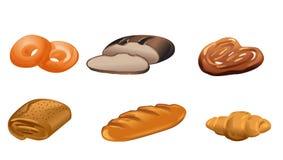 Six produits de boulangerie Photographie stock