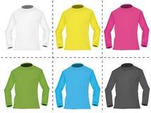 Six pulls molletonnés d'hommes colorés. Photo libre de droits