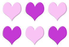 Six purple and pink hearts Stock Photo