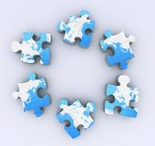 Six puzzles on white Royalty Free Stock Photo