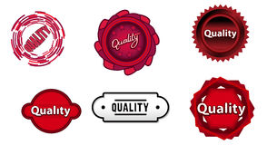Six quality red signs. Vector illustration of a six quality red signs Royalty Free Stock Photo