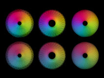 Six rainbow color circular shapes Stock Photo
