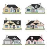 Six ranch homes. An illustration of Six different beautiful ranch homes Stock Image