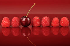 Six Raspberries and One Cherry Stock Photo