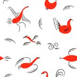 Six red birds seamless pattern. National scandinavian paintings. Folk handicrafts. Enchanting original Simplicity. Flat duck, goose, hen, fowl, cock, swan vector illustration