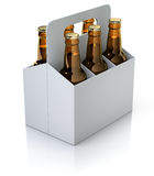 Six red bottles of beer in white carton packaging Stock Photo
