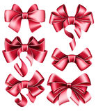 Six red bows Stock Photography