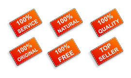 Six red business promo stickers Stock Photo