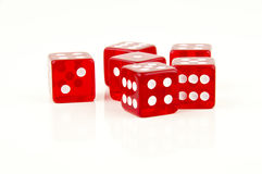 Six red dice scattered Stock Photo